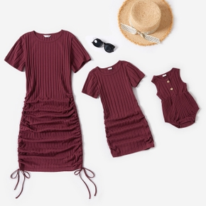 Wine Red Ribbed Short-sleeve Ruched Bodycon Dress for Mom and Me