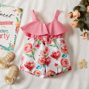 Solid Stitching Floral Baby Sling Shorts Romper