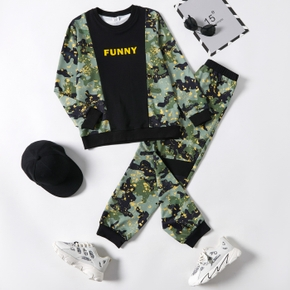 2-piece Kid Boy Letter Camouflage Print Colorblock Long-sleeve Top and Elasticized Pants Set