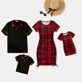Family Matching Red Plaid Short-sleeve Mini Dresses and Polo Shirts Sets