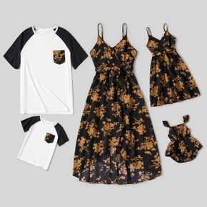 Floral Print Family Matching Sets(Spaghetti Strap Belted Midi Dresses and Raglan Short-sleeve T-shirts)