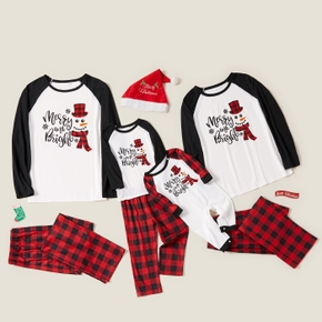 Christmas Letters and Red Plaid Print Family Matching Raglan Long-sleeve Pajamas Sets (Flame Resistant)