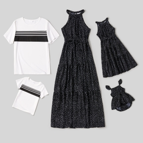 Black Polka Dot Print Family Matching Sets(Sleeveless Halter Neck Maxi Belted Dresses and Striped Short-sleeve T-shirts)