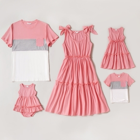 Solid Pink Family Matching Sets(Sleeveless Tiered Dress and Colorblock Short-sleeve T-shirts)