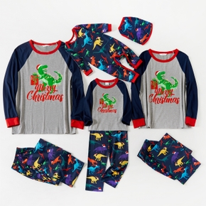 Christmas Dinosaur and Letter Print Family Matching Pajamas Sets (Flame Resistant)
