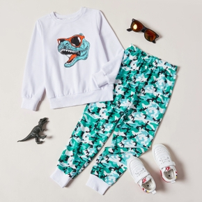 2-piece Kid Boy Dinosaur Print Long-sleeve White Top and Camouflage Pants Casual Set