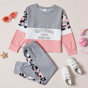 2-piece Kid Girl Letter Camouflage Print Colorblock Long-sleeve Tee and Elasticized Pants Set