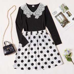 2-piece Kid Girl Lace Doll Collar Long-sleeve Top and Polka dots Skirt Set