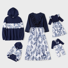 V-neck Solid Splice Plant Print and Hooded Long-sleeve Family Matching Dark Blue Sets