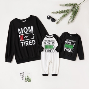 Solid Battery Letter Print Long-sleeve Matching Sweatshirts