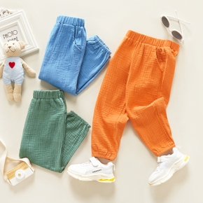 Toddler Girl/Boy Elasticized Solid Casual Pants with Pocket