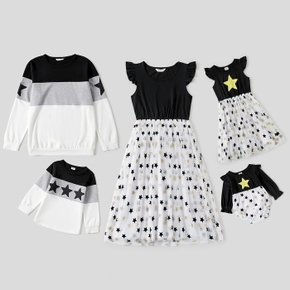 Solid Splice Star Print and Five-pointed Star Family Matching Sets