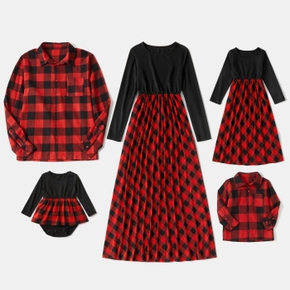 Christmas Red and Black Plaid Splice Long-sleeve Family Matching Sets