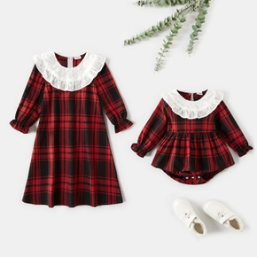 Lace Collar Splice Plaid A-line Siblings Matching Red Sets