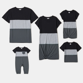 Family Matching Black and Grey Colorblock Short-sleeve Sets
