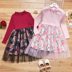 Kid Girl Ruffle Collar Floral Print Stitching Tulle Dress