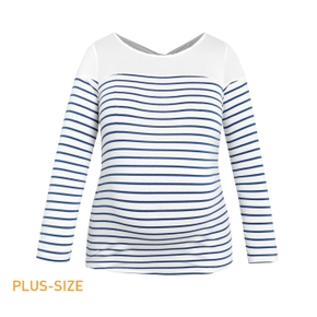 Maternity Stripe Print Hollow Out Design Long-sleeve T-shirt