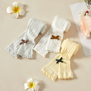 Solid Ruffle and Bowknot Decor Baby Leggings Footless Tight