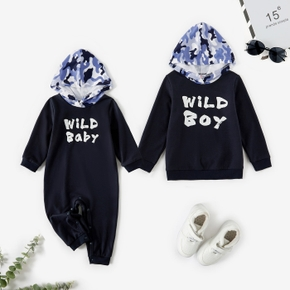Letter Print and Camo Hooded Long-sleeve Navy Sweatshirt for Brother and Me