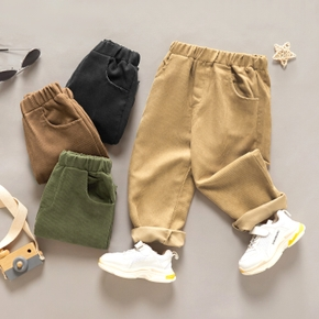 Toddler Girl/Boy Elasticized Solid Corduroy Casual Pants with Pocket