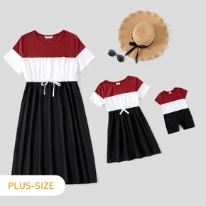 Solid Splice Short-sleeve Matching Dresses