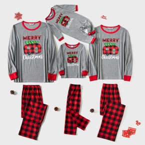 Christmas Letter Print and Red Plaid Family Matching Long-sleeve Crewneck Pajamas Sets (Flame Resistant)