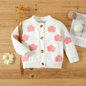 Baby 3D Floral Embroidered White Long-sleeve Button Down Sweater Cardigan