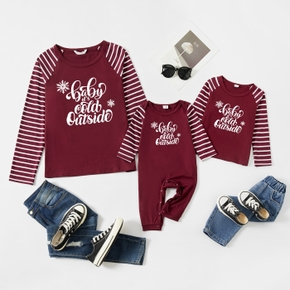 Letter Print Wine Red Stiped Raglan Long-sleeve T-shirts for Mom and Me