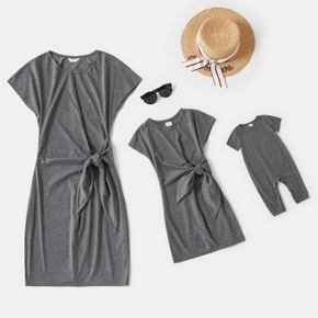 Solid Grey Short-sleeve Tie Waist Knot T-shirt Dress for Mom and Me