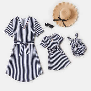 Blue and White Striped Short Sleeve V Neck Belted Midi Shirt Dress for Mom and Me