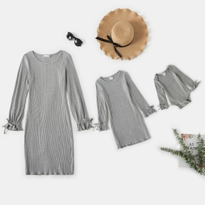 Grey Ribbed Long-sleeve Round Neck Casual Slim Fit Dress for Mom and Me