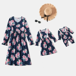 Floral Print Long-sleeve Ruffle Splicing Midi Dress for Mom and Me