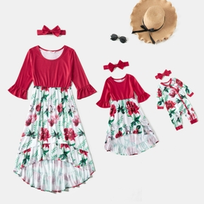 Rose Red Flared Half Sleeve Splicing Floral Print Flowy Ruffle Hem Midi Dress for Mom and Me