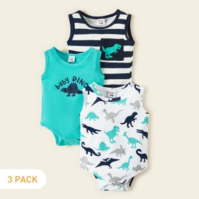 3-piece Baby Dinosaur Allover Striped Bodysuits Set