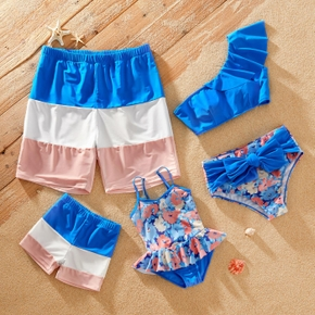 Floral Print Color Color Block Family Matching Swimsuits