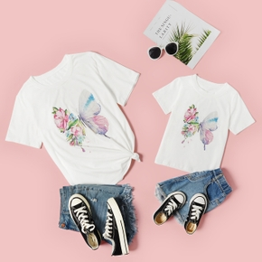 Butterfly Print White Short Sleeve T-shirts for Mom and Me