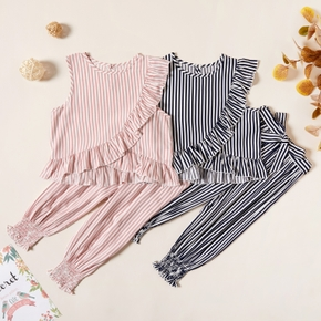 Kids Girl Striped Ruffled Tee and Strappy Pants Set