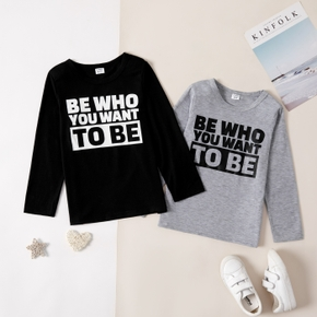 Kid Boy Casual Letter Print T-shirt