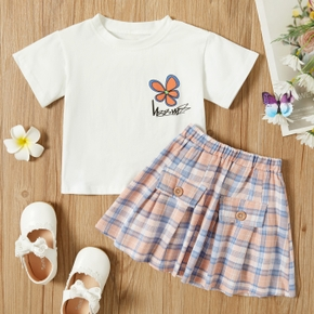 2-piece Baby / Toddler Girl Floral Top and Plaid Skirt Set
