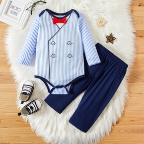 2-piece Baby Boy Striped Bow tie Decor Long-sleeve Bodysuit Romper and Elasticized Solid Pants Set
