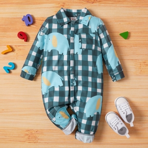 Baby Boy Elephant Plaid Jumpsuits