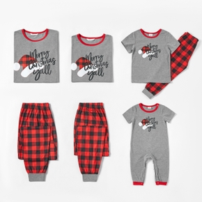 Family Matching Christmas Hat Print Short-sleeve Top and Plaid Pants Pajamas Sets (Flame Resistant)