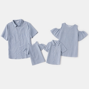 Stripe Print Family Matching Tops(Cold Shoulder Tops for Mom and Girl ; Short Sleeve Shirts for Dad and Boy)