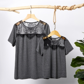 Lace Grey Short Sleeve T-shirts for Mommy and Me