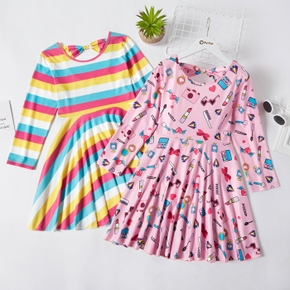 Kid Girl Stripe Rainbow/Lipstick Cosmetic Print Back Hollow out Bow Decor Pleated Dress