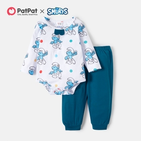Smurfs Baby Boy 2-piece Long-sleeve Romper and Pants Set