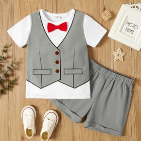 Toddler Boy Fashionable Top with Bow tie and Solid Shorts Suits Set