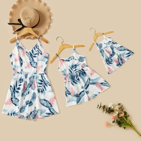 Floral Print V Neck Maching Sling Shorts Rompers