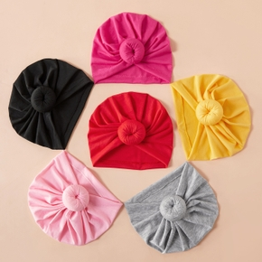 2-piece Baby / Toddler Solid Pompon Hat