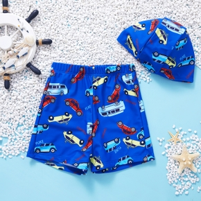 2-piece Baby / Toddler Boy Car Print Swimsuit With Hat